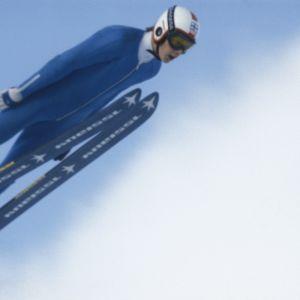 Matti Nykänen hyppää. Mäkihyppääjä ilmassa.