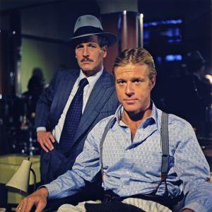 Paul Newman ja Robert Redford elokuvassa Puhallus (1973).