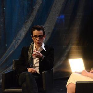 Kirjailija Masha Gessen (US) ja kirjailija Sofi Oksanen Helsinki Lit -kirjallisuusfestivaaleilla