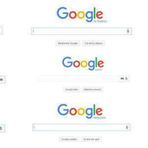 Google-haun eri maiden etusivuja kollaasina