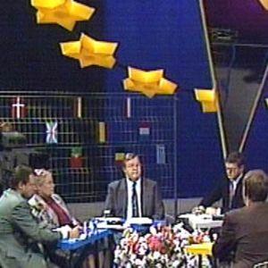 Pöydän ääressä keskusteljioita ja taustalla EU:n lippu