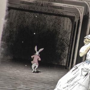 Liisa katsoo, kun Valkoinen kani rientää käytävällä. Kuvitusta kirjasta Liisan seikkailut Ihmemaassa