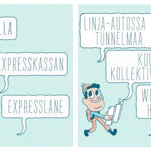 Kielten alkeita sarjakuvan avulla