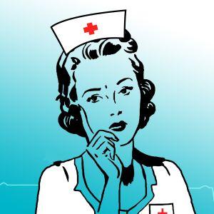 Piirretty sairaanhoitaja.