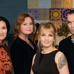 Kuvassa Tiina Raevaara, Niina Repo, Laura Gustafsson ja Antti Nylén.