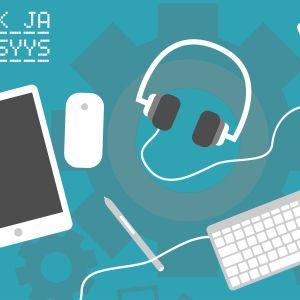 Artikkelin kansikuva, jossa piirrettynä ipad, kuulokkeet, puhelin ja näppis