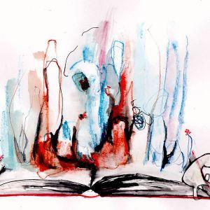 Illustration av bok och gestalter som reser sig ur boken.