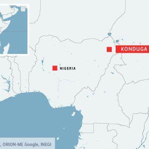 Byn Konduga där en kvinnlig självmordsbombare dödade 27 personer.
