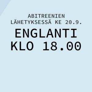 Kuvituskuva, jossa kerrotaan, että englannin yo-koetta käsitellään Abitreenien suorassa lähetyksessä klo 18–19.30.