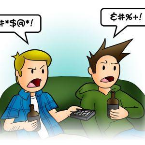 Två tecknade figurer som enbart talar med svordomar