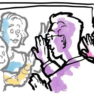 Vanhempien ja lasten välissä on iso tablet, jonka ruudun läpi heidän kätensä koskettavat toisiaan.