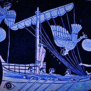 Odysseus ja seireenit, kuva vanhasta ruukusta