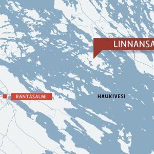 Karta över Haukivesi i Rantasalmi.