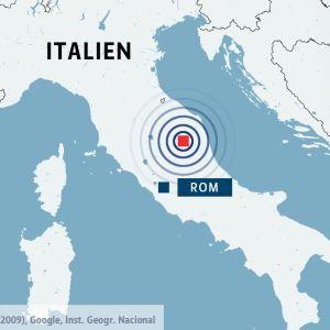 Karta över Italien med Rom och platsen för jordskalv.