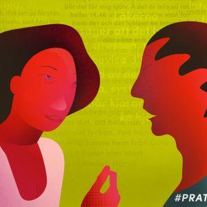 Grafisk bild av två personer som pratar.