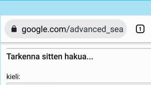 Googlen Tarkennettu Haku -näkymä
