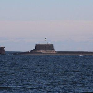Marinen publicerade en bild på Twitter av världens största ubåt Dmitrij Donskoj den 24 juli 2017.