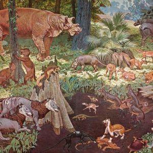 Däggdjur från eocen-eran enlig en konstnärs uppfattning.