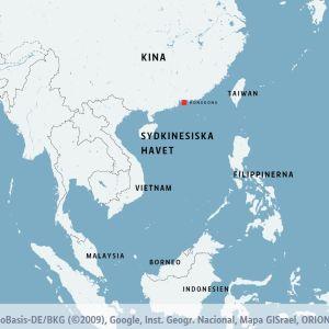 Karta som visar Sydkinesiska havet, omringat av Fililppinerna i öster, Vietnam i väster och Kina och Taiwan i norr.