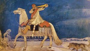 Akseli Gallen-Kallelan maalaus Kullervon sotaanlähtö, 1901.