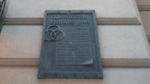 Tammikuun kihlauksen muistolaatta Helsingin Mikonkaduilla