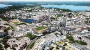 Havainnekuva Tampereen keskustaan tulevista rakennuksista