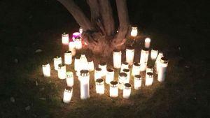 Levande ljus brinner vid roten av ett träd.