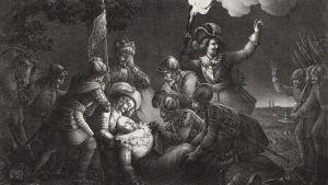 Kung Gustav II Adolf stupar på slagfältet vid Lützen 1632