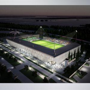 Vision av hur den nya fotbollsstadion i Vasa kan se ut om den blir U-formad.