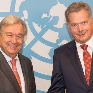 FN:s generalsekreterare Antonio Guterres och president Sauli Niinistö