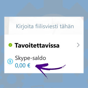 Kuvakaappaus Skype-sovelluksesta: Saldo 0, 00 euroa.