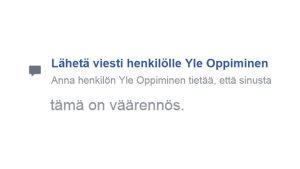 Facebookin ilmiantovalikon viimeinen vaihtoehto, kieli suomi