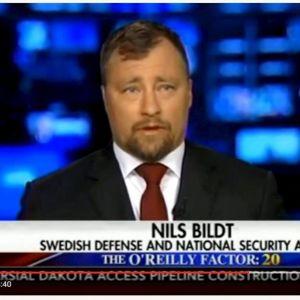 YouTube-skärmdump från intervjun med tv-kanalen Fox intervju med den så kallade säkerhetsexperten Nils Bildt från Sverige.