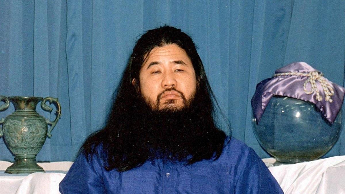 Arkivbild på Shoko Asahara, ledare för domedagssekten Aum Shinrikyo.
