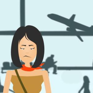 Piirretty nainen seisoo harmistuneena lentokentällä. Taustalla kone nousee ilmaan.
