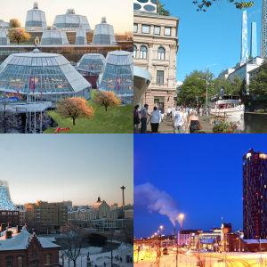 Koskikeskus, Hämeenkatu, tornihotelli ja Tako gardens Tampereella