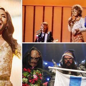 Kuvassa euroviisuvoittajat Conchita Wurst, ABBA ja Lordi