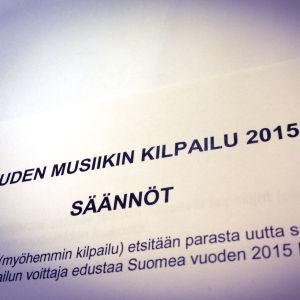Uuden Musiikin Kilpailu 2015 - säännöt
