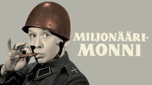 Kypäräpäinen alokas Lasse Pöysti polttaa sikaria Miljonäärimonni-dvd:n kansikuvassa.