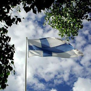 Suomen lippu liehuu taivasta vasten.