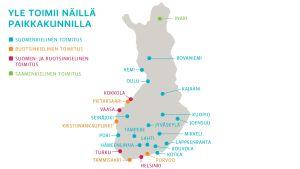 Suomen kartta, johon on merkitty 25 paikkakuntaa