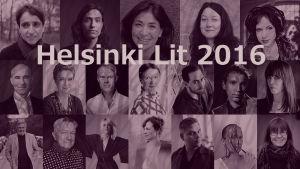 Kuvakollaasi Helsinki Lit -kirjallisuusfestivaaleille osallistuvista kirjailijoista