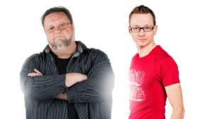 Musiikkitoimittajat Risto Nordell ja Kare Eskola.