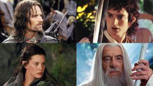 Taru sormusten herrasta -trilogia: Aragorn (Viggo Mortensen), Arwen (Liv Tyler), Frodo (Elijah Wood), Gandalf (Ian McKellen)