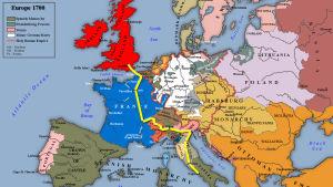 Burneyn matkareitti vuoden 1700 Euroopan kartalla.