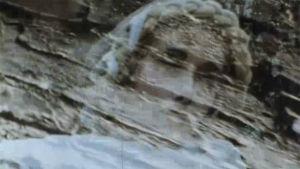 Naisen silhuetti aitan seinää vasten.