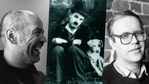 Kollaasissa Jouko Turkka, Charlie Chaplin ja Peter von Bagh,
