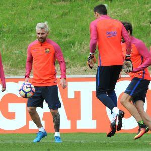 Lionel Messi i Barcelonas träningar.
