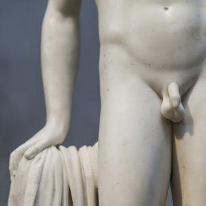 Underlivet på manlig marmorstaty