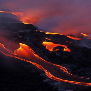 Lavaström från vulkanen Kilauea på Hawaii.